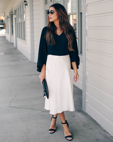 Rita Satin Midi Skirt - FINAL SALE