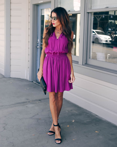 Fine By Me Pocketed Smocked Dress - Plum - FINAL SALE