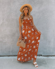 Farhan Floral Strapless Smocked Maxi Dress - Rust view 1