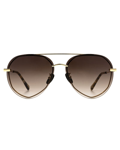 Diff X VICI - Lenox Gold Frame Brown Gradient Aviator Sunglasses