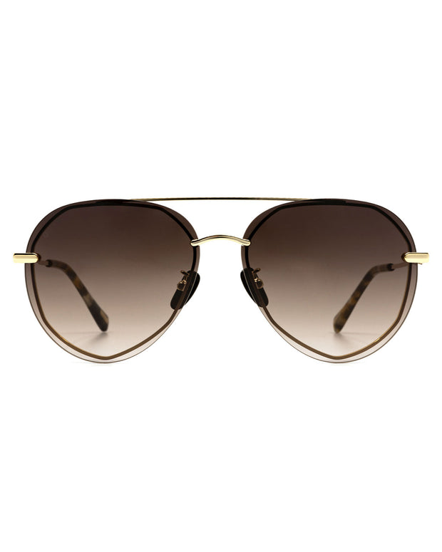 Diff X VICI - Lenox Gold Frame Brown Gradient Aviator Sunglasses view 3