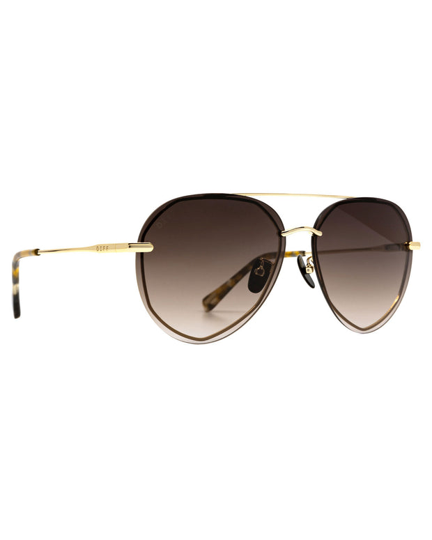 Diff X VICI - Lenox Gold Frame Brown Gradient Aviator Sunglasses view 5