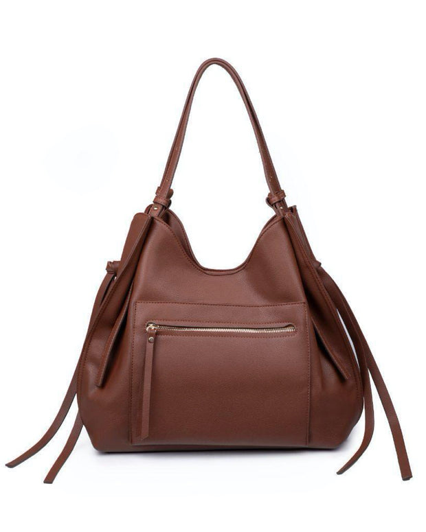 Etta Faux Leather Shoulder Bag - Chocolate view 3