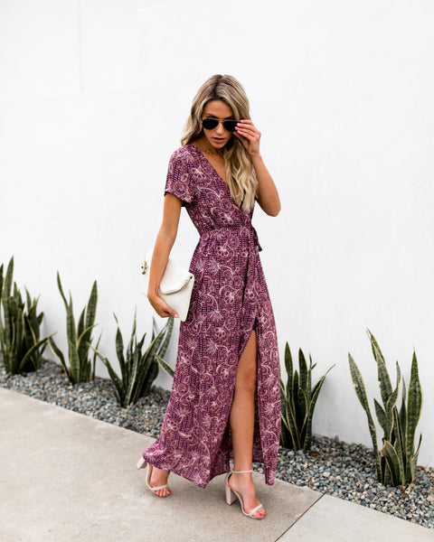Verdot Vines Bardot Wrap Maxi Dress