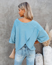 Vernon Cotton French Terry Top - Dusty Blue
