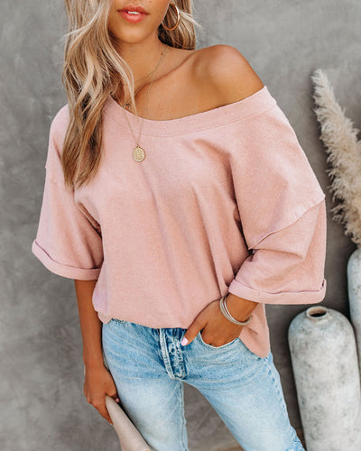 Vernon Cotton French Terry Top - Blush