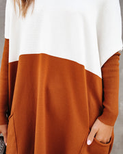 Very Special Pocketed Colorblock Knit Sweater - Camel