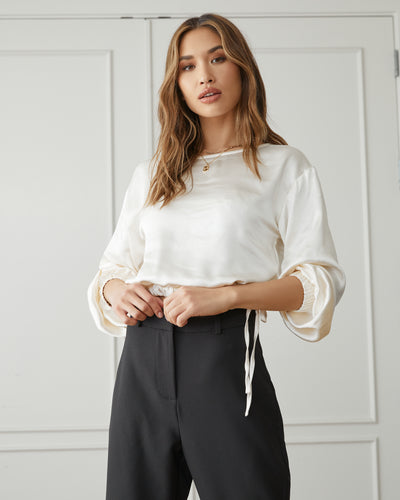 Plentiful Satin Billowed Drawstring Blouse
