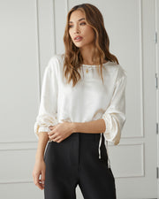 Plentiful Satin Billowed Drawstring Blouse view 8