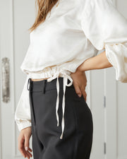 Plentiful Satin Billowed Drawstring Blouse view 4