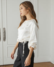 Plentiful Satin Billowed Drawstring Blouse view 9