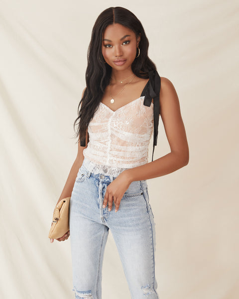 Central Park Ruched Lace Crop Top