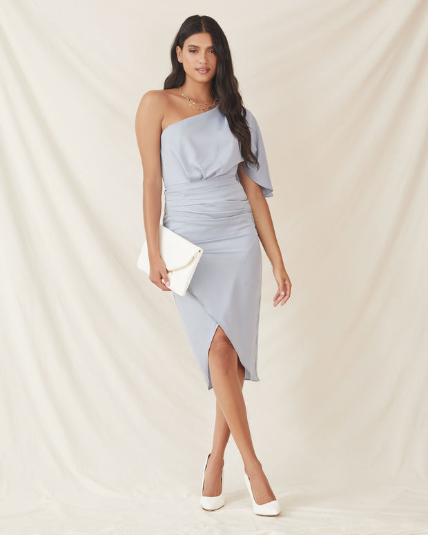 What To Wear One Shoulder Satin Drape Dress - Blue Grey - FINAL SALE