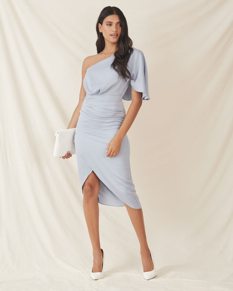 What To Wear One Shoulder Satin Drape Dress - Blue Grey