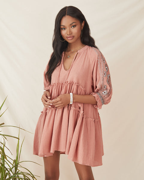 Sunseeker Cotton Embroidered Babydoll Dress - Dusty Rose