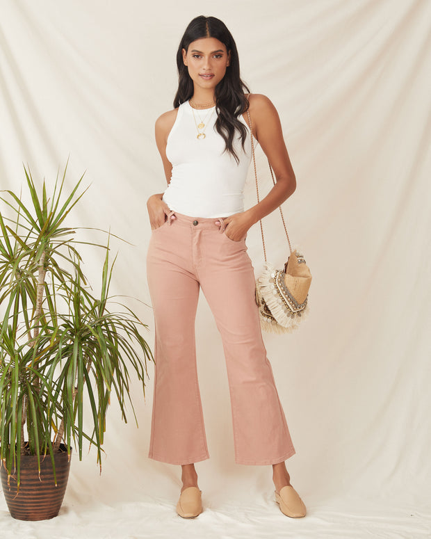Kira Cotton Wide Leg Crop Denim - Clay