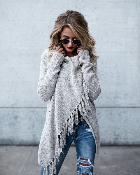 Speckled Fringe Cardigan - Light Grey