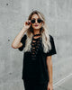 Turner Lace Up Top - Black