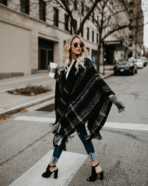 Supply Brushed Plaid Poncho