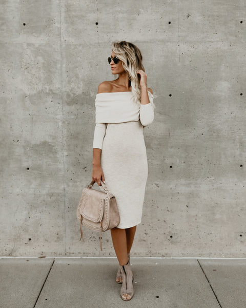 On To You Off The Shoulder Knit Dress