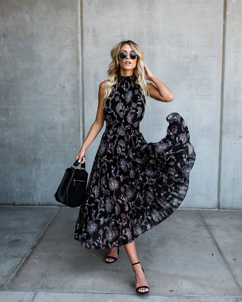 Cascading Florals Pleated Midi Dress