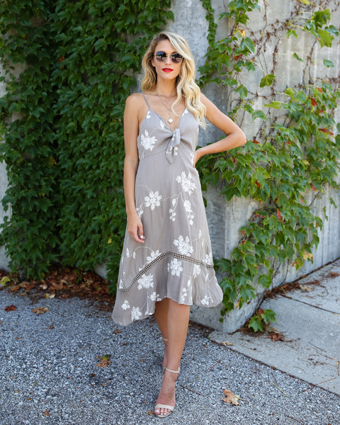 San Clemente Embroidered Midi Dress - Taupe - FINAL SALE