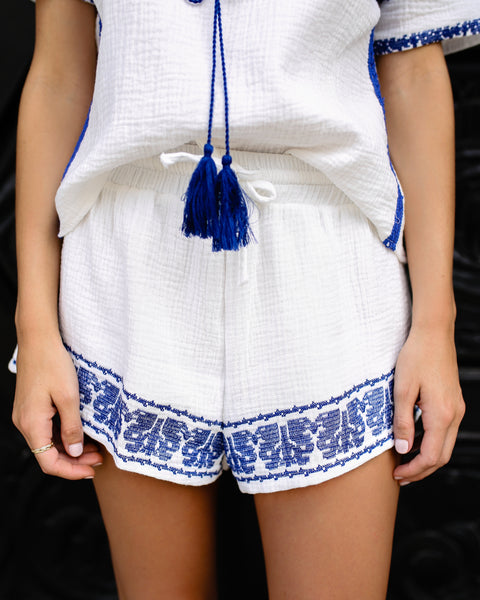 French Rivera Cotton Embroidered Shorts - Blue