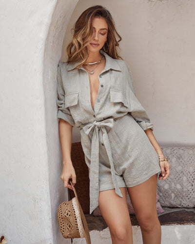 Hotel California Cotton Button Down Utility Romper