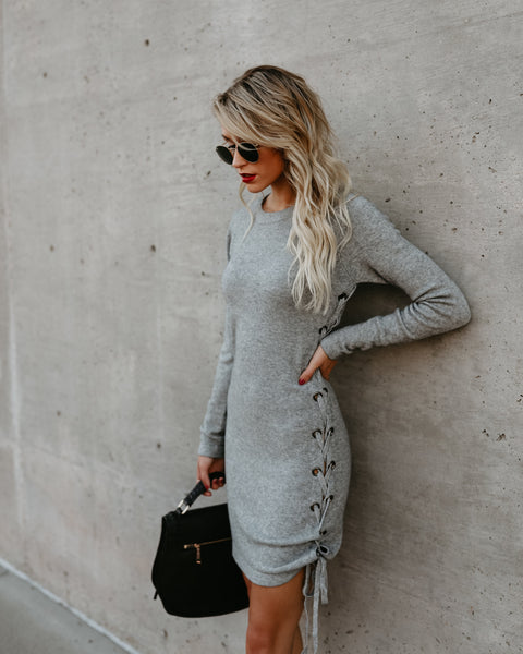 Cross My Heart Lace Up Sweater Dress