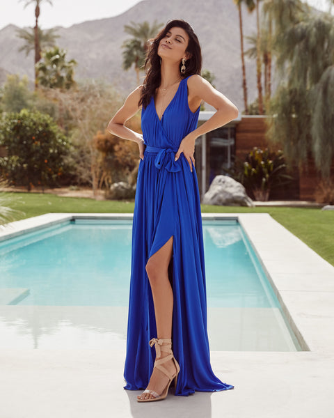 Diana Sleeveless Maxi Dress - Ocean Blue