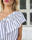 Set Sail Striped One Shoulder Ruffle Top - Off White