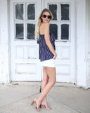 Set Sail Striped One Shoulder Ruffle Top - Navy - FLASH SALE