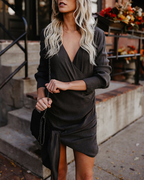 Wintour Wrap Tie Dress - Gravel