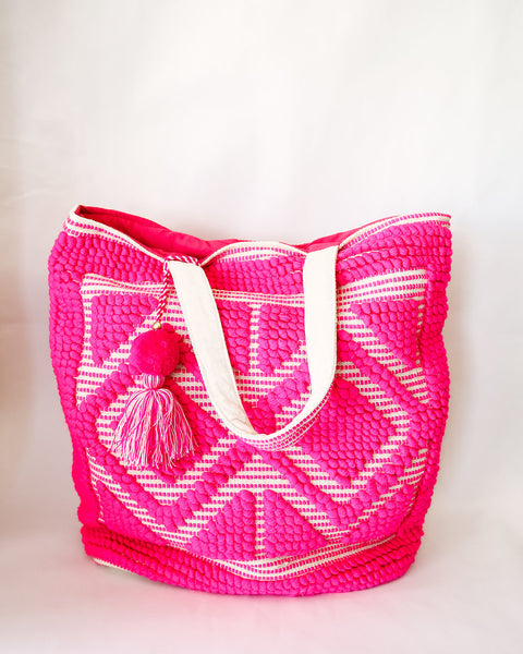 Oasis Diamond Cotton Tote - Fuchsia