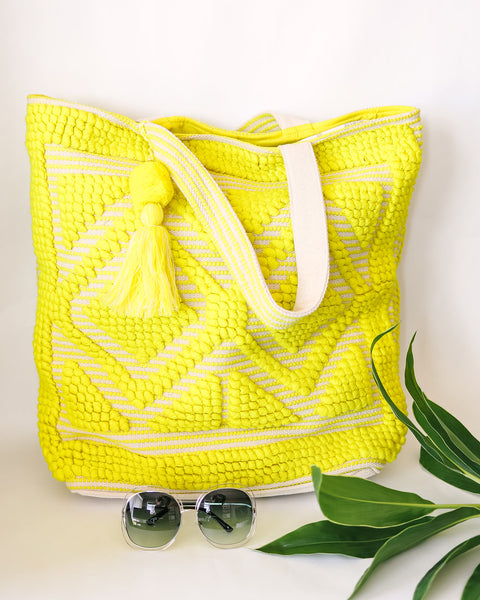 Oasis Diamond Cotton Tote - Yellow
