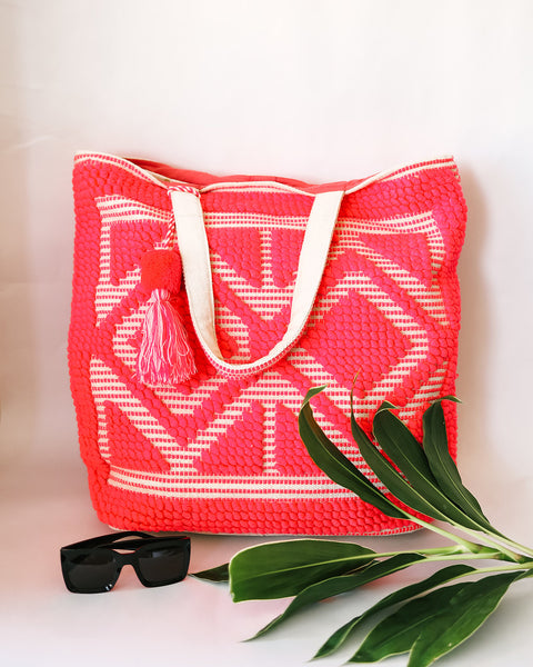 Oasis Diamond Cotton Tote - Coral