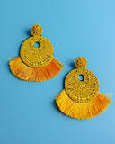 Doll House Beaded Fringe Statement Earrings - Yellow