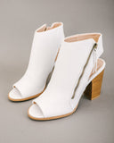 Flirt Faux Leather Zip Bootie - White