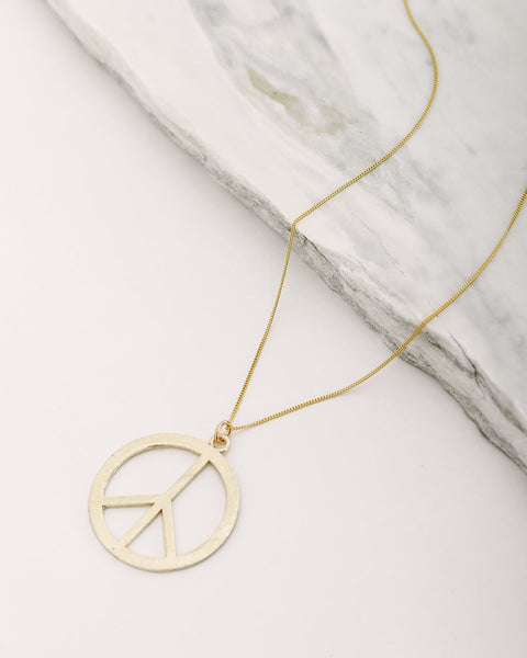 MEGHAN BO DESIGNS - Brushed Peace Sign Necklace