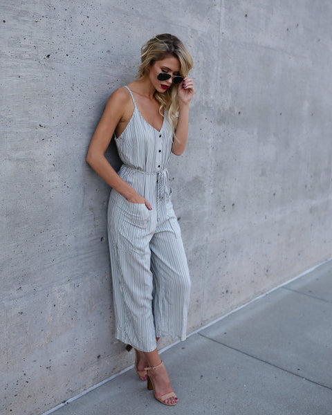 Kudos Striped Pocketed Jumpsuit