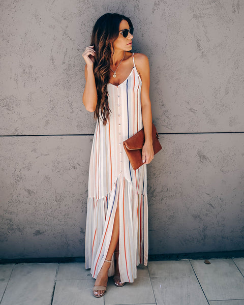 Swing Into Summer Ruffle Tie Back Maxi Dress