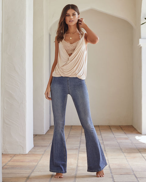 Penny Pull-On Flare Jeans - Authentic Blue - FREE PEOPLE - FINAL SALE