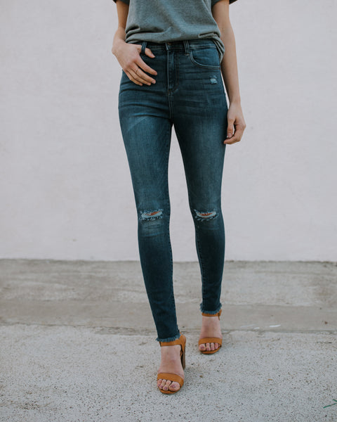 Crosby High Waisted Frayed Skinny
