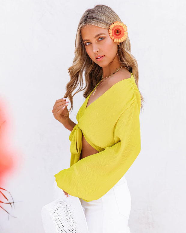 Vittoria Tie Front Crop Blouse - Chartreuse view 10