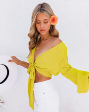 Vittoria Tie Front Crop Blouse - Chartreuse view 5