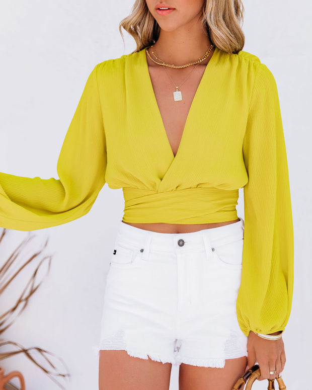 Vittoria Tie Front Crop Blouse - Chartreuse view 7