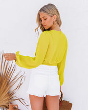 Vittoria Tie Front Crop Blouse - Chartreuse view 2