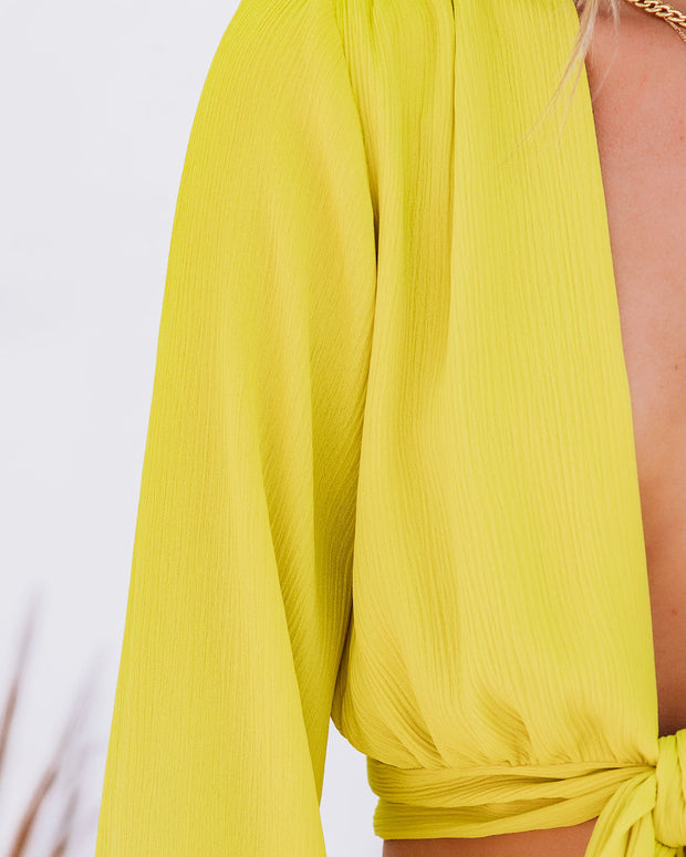 Vittoria Tie Front Crop Blouse - Chartreuse view 4