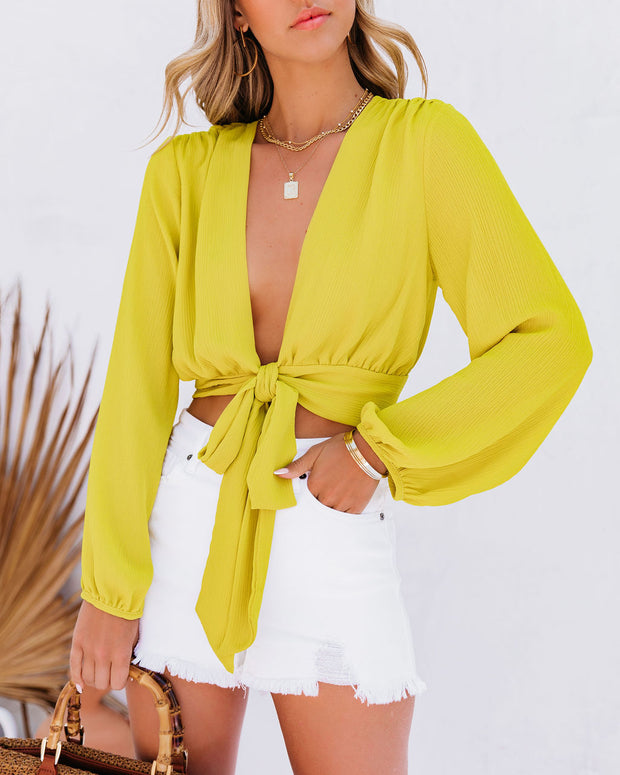 Vittoria Tie Front Crop Blouse - Chartreuse view 3