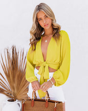 Vittoria Tie Front Crop Blouse - Chartreuse view 8